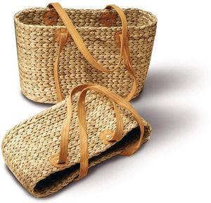 Neustanlo® Einkaufstasche/Einkaufskorb 1 STK, aus Wasserhyazinthe (Oval groß Langer Henkel)