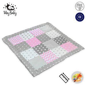Krabbeldecke Patchwork Spieldecke Baby - Patchworkdecke als laufgittereinlage groß gepolstert 120x120 cm, Rosa-Grau