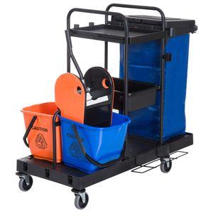 HOMCOM Putzwagen Reinigungswagen Wischwagen Systemwagen mit 4 leichtgängigen Rollen Schwarz+Blau+Orange 111 × 63,3 × 103 cm