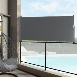 Seitenmarkise 100 x 300 cm Grau Sichtschutz Markise Sonnen- & Windschutz