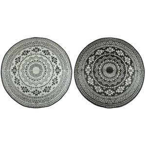 Esschert Design Außenteppich 180 cm Schwarz und Weiß OC18