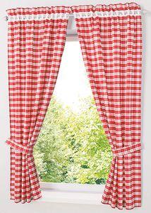 Blickdichter Vorhänge mit Karo-Muster Landhaus Gardinen Wohnzimmer Gardinenschals mit Raffhalter (BxH 80*120) 2 Stück