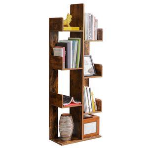VASAGLE Raumteilerregal, Standregal mit 8 Fächern, 50 x 25 x 140 cm, mit abgerundeten Ecken, vintagebraun LBC66BXV1