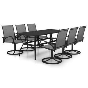 Hochwertigen Garten Sitzgruppe Gartengarnitur - 7-teiliges Outdoor-Essgarnitur Garten-Essgruppe Sitzgruppe Tisch + stuhl Textilene und Stahl☆2073
