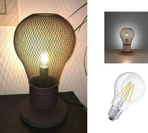 Tischleuchte GLÜHBIRNE rostfarbig , Retro Loft Tischlampe ,Landhaus  Bodenlampe , Vintage Industrie Leuchte , Lampe inkl. Filament LED