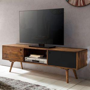 WOHNLING TV Lowboard REPA 140 cm Massiv-Holz Sheesham Landhaus 2 Türen & Fach | HiFi Regal braun / schwarz 4 Füße | Fernseher Kommode Vintage