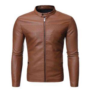 Herren Lederjacke Herbst & Winter Biker Motorrad Reißverschluss Casual Outwear Coat Größe:XL,Farbe:Braun