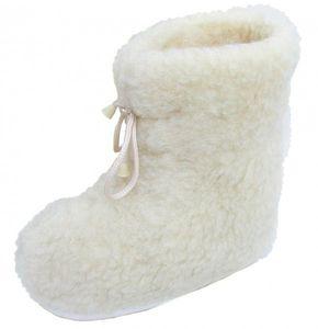 superwarme und weiche Damen Woll Hausschuhe hoch beige waschbar, 100% Wolle, rutschfeste Sohle