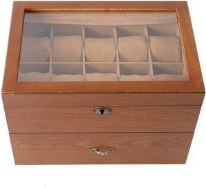 2 Lagige Schmuckkasten Holz Schmuckkoffer  Schmuckschatulle Braun Schmuckkästchen Uhrenbox Edel Geschenk (Thema: Mit Oberlicht)