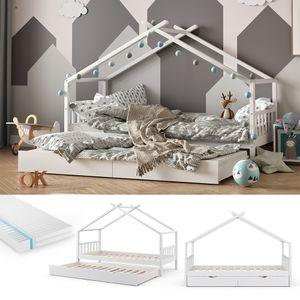 VITALISPA Kinderbett DESIGN Hausbett Gästebett Lattenrost weiß 90x200 Matratze