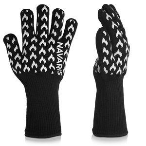 Navaris Grill Handschuhe feuerfeste Ofenhandschuhe - Grillhandschuhe hitzebeständig bis 500°C - Kochhandschuhe für Ofen BBQ Grillen - Mit Silikon