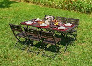 7-teilige Sitzgruppe Gartengruppe Tischgruppe klappbar Kunststoff Braun