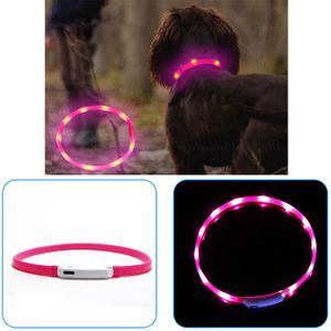 Melario LED Leuchthalsband Visio Light Signalleuchte Hund USB Hund Halsband blinkend Rosa 70cm