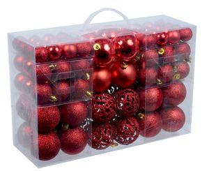 100 Weihnachtskugeln Rot mit Metallhaken verschiedene Kugelgrößen Weihnachten