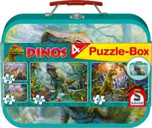 2 x 60 + 2 x 100 Teile Schmidt Spiele Kinder Puzzle Dinos Koffer 56495
