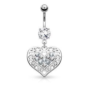 Bauchnabelpiercing Herz Heart Anhänger Strass Zirkonia Kristall Autiga® silber