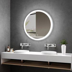 Meykoers Badezimmerspiegel Rund 60cm Durchmesser LED Badspiegel mit Touch Schalter mit 3 Lichtfarbe 3000-6400K Lichtspiegel Badezimmerspiegel mit Touchschalter IP44 energiesparend