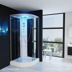 TroniTechnik Duschtempel Fertigdusche Duschkabine Dusche Glasdusche Eckdusche Komplettdusche S100XC2KG01 100x100