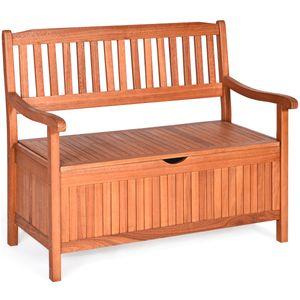COSTWAY Gartenbank Sitzbank Holz mit Strauraum, Holzbank Truhenbank für 2-Sitzer, Parkbank mit Rücklehne & Armlehne, Stauraumbank 360kg belastbar für Terrasse Garten Balkon Hof Wohnzimmer