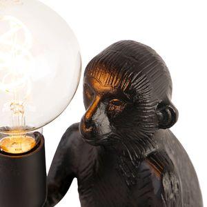 QAZQA - Landhaus | Vintage Vintage Tischlampe schwarz - Monkey Det | Wohnzimmer | Schlafzimmer - Aluminium Andere - LED geeignet E27