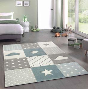 Kinderteppich Junge Teppich Kinderzimmer mit Stern Wolke in Blau Grau Creme Größe - 80x150 cm