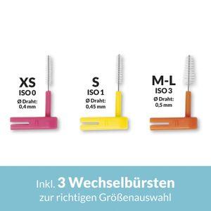 WINGBRUSH Interdentalbürste Starter Set + 2x 6 Aufsätze XS ISO 0 pink WING BRUSH