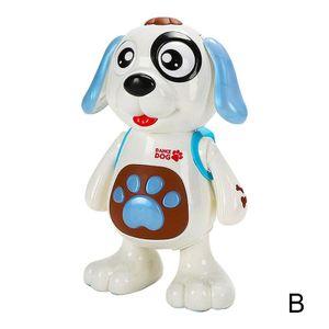Englisch blaue Verpackung (B) $ elektrischer Spielzeughund Tanzmusik Lichter Vibrato Kinder Roboter-Hund zu Fuß