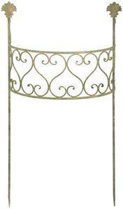 Esschert Design AM Grün Pflanzstütze, halbrund, 55,5 x 25,5 x 100 cm, Rankhilfe aus Aged Metal, gealterte Optik, antiker Beet-Zaun, grün