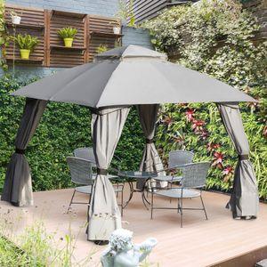 Outsunny Pavillon mit Seitenwände Partyzelt mit Doppeldach 3x3x2,8m Festzelt Gartenlaube Stahl Polyester Hellgrau