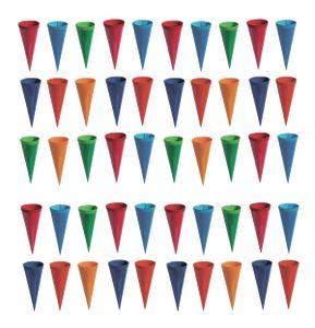 50 Deko Schultüten / Länge: 12,5cm / 6 verschiedene Farben