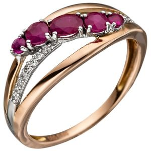 JOBO Damen Ring 60mm 585 Gold Rotgold 5 Rubine rot 16 Diamanten Brillanten Rubinring
