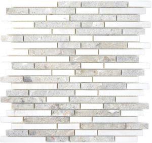 Marmor Mosaik Verbund Stein grau weiss Mosaikfliese Wand Fliesenspiegel Küche Bad