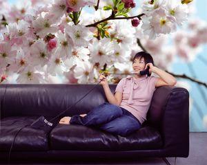 """Komar Vlies Fototapete """"Spring"""", weiß/blau/rosa, 368 x 254 cm"""
