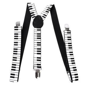 Erwachsene Uni Clip-on-Hosenträger Elastischen Y-back Hosenträger-w / Klaviertastatur Muster Schwarz-Weiß-