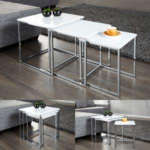 cagü: Design 3er Set Beistelltische [MAILAND] Weiß Hochglanz mit Chromgestell 40/35/30cm
