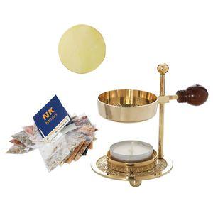 Große Weihrauchset 18tlg. Teelicht Weihrauchbrenner verstellbar gold Räucherwerk