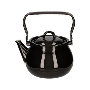 Wasserkessel EMAILLE Induktion 2 L Teekessel Wasserkocher Schwarz Neu STEAM