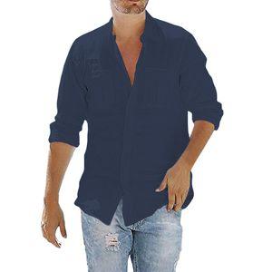 Herren Einfarbig Langärmliges Hemd Mit Knopftasche Mit Reversknopf, Schmales Oberteil,Farbe: Blau,Größe:5XL