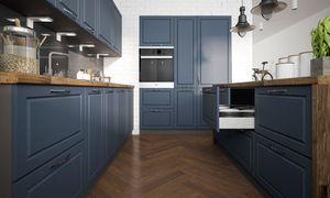 Küchenblock 260x160x180cm grau / stahlblau Matt lackiert Küchenzeile Landhaus U-Form