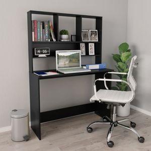 Bürotisch Vintage mit Regalen   PC Tisch   Arbeitstisch Gaming Tisch   für Arbeitszimmer Büro Schwarz 110×45×157 cm Spanplatte - direkt vom Hersteller HOM845046