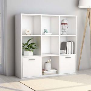 Bücherschrank Bücherregal Mit 9 Fächern Weiß 98 x 30 x 98 cm Spanplatte