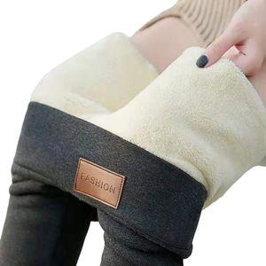 Damen Warme Thermo Leggings Verdicken mit Plüsch Gefüttert Slim Lange Leggings Elastische Winter Strumpfhose Hosen@#Dunkelgrau-L