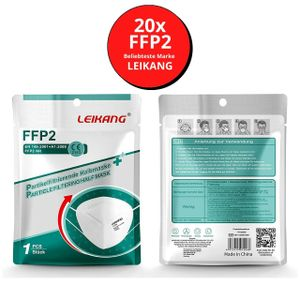 LEIKANG 20 FFP2 Maske Mundschutz Atemschutz 5 lagig Gesichtsschutz Filter