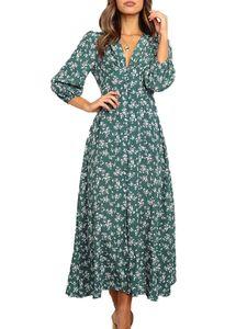 Damen Floral Long Maxi Wickelkleid Damen V-Neck Beach Sundress,Farbe: Grau,Größe:XL