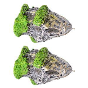 2 Stück Aquarium Schwimmende Felsen Hängende Steine künstliche Fisch Tank Dekoration