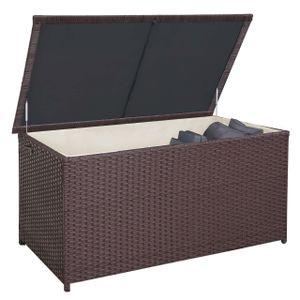 Poly-Rattan Kissenbox HWC-D88, Gartentruhe Auflagenbox Truhe  Premium braun, 80x160x94cm 950l