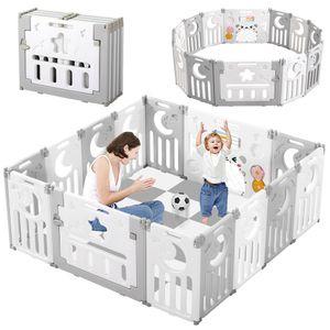 Dripex Laufgitter Laufstall Baby Absperrgitter 14-Paneele Schutzgitter Krabbelgitter für Kinder aus Kunststoff mit Tür und Spielzeugboard-Grau-Weiß