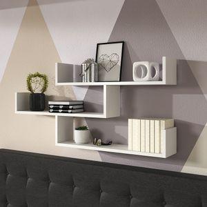 Selsey Wandregal KASSI - Hängeregal / Bücherregal mit 3 Regalböden in Weiß, 55 x 119 cm