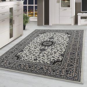 Orientteppich kurzflor Orient Muster Wohnzimmer Klassisches Design in Creme, Grösse:240x330 cm, Farbe:Creme