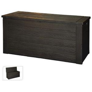 Kissenbox in Holzoptik anthrazit 300 L,  120x58x46cm
